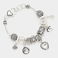 April _ birthstone heart & footprint charm bracelet
