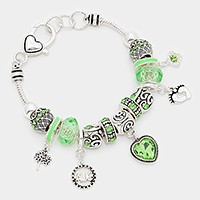 August _ birthstone heart & footprint charm bracelet