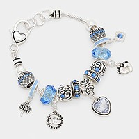 December _ birthstone heart & footprint charm bracelet
