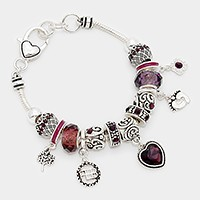 February_ birthstone heart & footprint charm bracelet