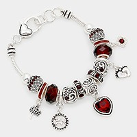 January_ birthstone heart & footprint charm bracelet