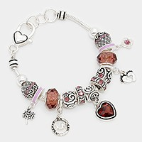 June _ birthstone heart & footprint charm bracelet