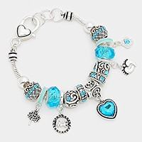 March _ birthstone heart & footprint charm bracelet