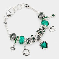 May _ birthstone heart & footprint charm bracelet