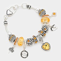 November _ birthstone heart & footprint charm bracelet