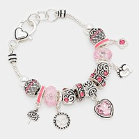 October _ birthstone heart & footprint charm bracelet