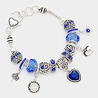 September _ birthstone heart & footprint charm bracelet