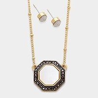 OCTAGON WHITE PEARL SHELL PENDANT NECKLACE
