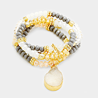Druzy charm beaded stack stretch bracelet