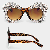 Oversized crystal rhinestone bubble sunglasses