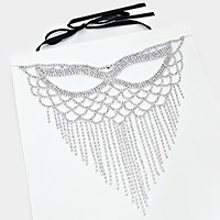 Crystal rhinestone fringe cat eye mask