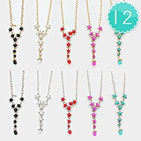 12 PCS - crystal embellished pearl necklaces