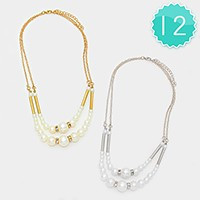12 PCS - double layer pearl necklaces