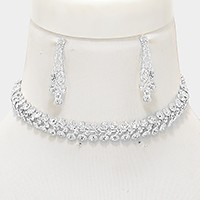 3-Row crystal rhinestone bubble choker necklace