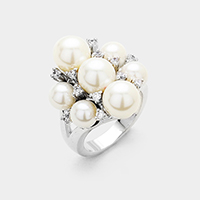 Bloom crystal pearl ring