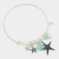 Starfish & natural stone charm hook bracelet