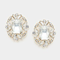 Emerald cut crystal rhinestone clip on earrings