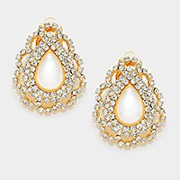 Crystal rhinestone embellished pearl teardrop clip on earrings