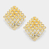 Curved diamond shape crystal rhinestone clip on earrings
