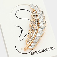Crystal feather ear crawler earring