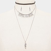 Metal feather pendant triple layer necklace