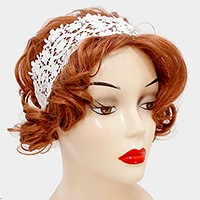 Wide lace stretch headband