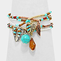 ANGEL WINGS CHARMS BEADED STACK BRACELETS