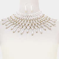 Pearl & bead armor collar necklace