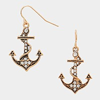Crystal pave metal anchor earrings