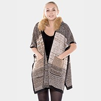 Open shawl with fur hoody & pocket