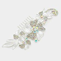 Crystal rhinestone pave metal flower hair comb stick