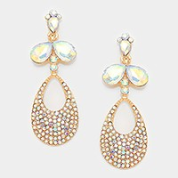 Crystal rhinestone pave droplet cut out evening earrings