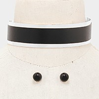 Faux leather band metal cuff choker necklace