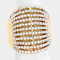 Wide rhinestone stretch ring