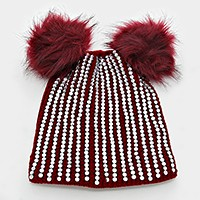 Double pom pom crystal knit beanie hat