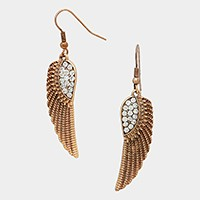 Crystal metal wing earrings