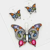 Crystal embellished butterfly pendant set