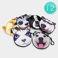 12 PCS - dog face zip pouch keychains