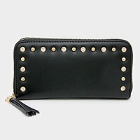 Crystal & metal studded tassel zip around wallet