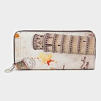 Pisa tower zip around wallet
