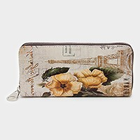 Paris Eiffel tower & flower zip around wallet