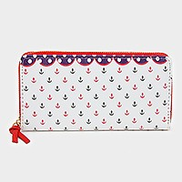 Anchor print zip around wallet