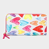 Heart print zip around wallet