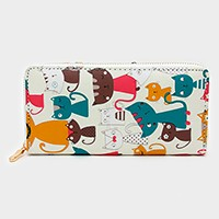 Cat print zip around wallet