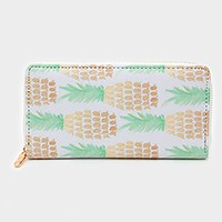 Pineapple print zip around wallet