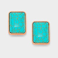 Rectangle turquoise CLIP ON EARRINGS
