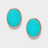Oval turquoise CLIP ON EARRINGS