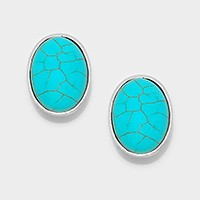 Cval turquoise CLIP ON EARRINGS