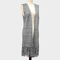 Knit midi length vest with tassel