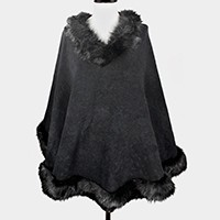 FAUX FUR TRIM CAPE PONCHO SWEATER